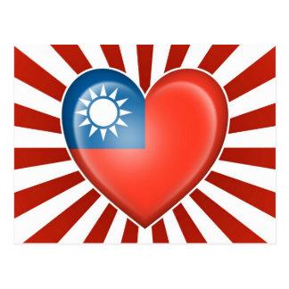 Taiwanese Heart Flag with Star Burst Postcard