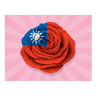 Taiwanese Rose Flag on Pink Postcard