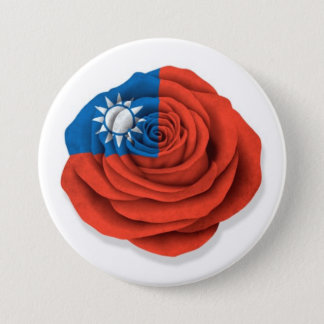 Taiwanese Rose Flag on White Pinback Button