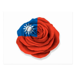 Taiwanese Rose Flag on White Postcard