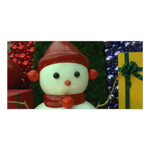 Taiwanese snowman personalized photo card