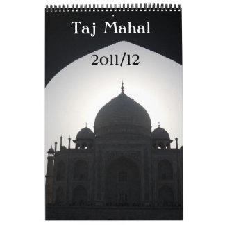 taj mahal 18 month single page calendar