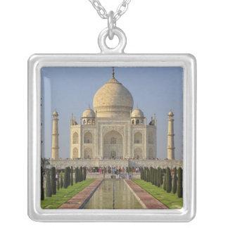 Taj Mahal, a mausoleum located in Agra, India, 2 Square Pendant Necklace