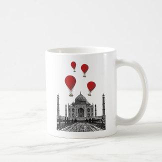 Taj Mahal and Red Hot Air Balloons Coffee Mug