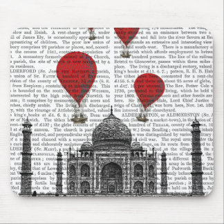 Taj Mahal and Red Hot Air Balloons Mouse Pad