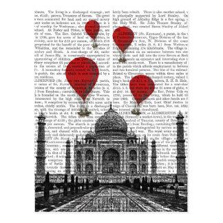 Taj Mahal and Red Hot Air Balloons Postcard