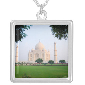 Taj Mahal at sunrise one of the wonders of the Square Pendant Necklace