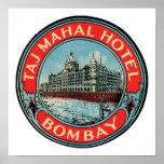 Taj Mahal, Bombay Vintage Luggage Label Poster
