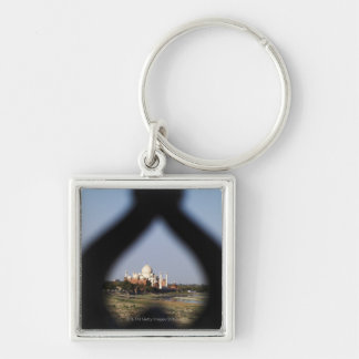 Taj Mahal building from a balcony with the form Silver-Colored Square Keychain