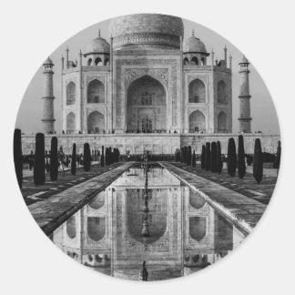 Taj Mahal BW Classic Round Sticker