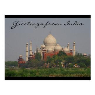 taj mahal distance greetings post card