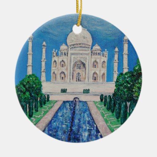 Taj Mahal Double-Sided Ceramic Round Christmas Ornament
