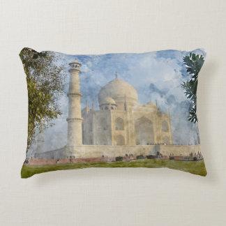 Taj Mahal in Agra India - Digital Art Watercolor Accent Pillow