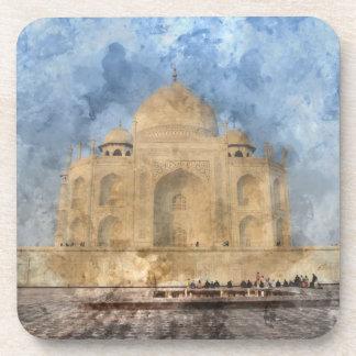 Taj Mahal in Agra India - Digital Art Watercolor Coaster