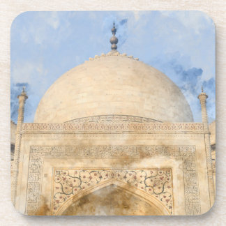 Taj Mahal in Agra India - Digital Art Watercolor Drink Coaster