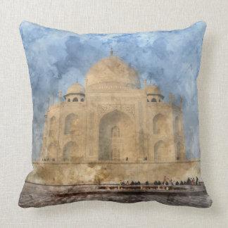 Taj Mahal in Agra India - Digital Art Watercolor Throw Pillow