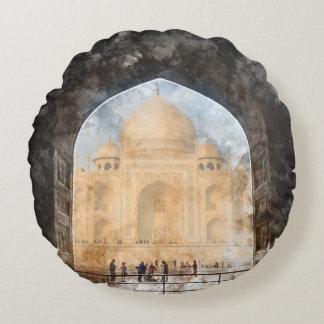 Taj Mahal in Agra India Round Pillow