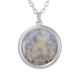 Taj Mahal in Agra India Silver Plated Necklace