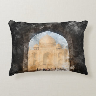 Taj Mahal in the Morning Accent Pillow