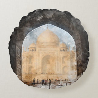 Taj Mahal in the Morning Round Pillow