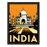 taj mahal india art deco retro poster post card