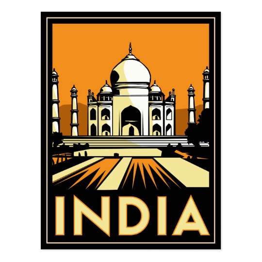 Art Deco Posters: Taj Mahal India Art Deco Retro Poster Postcard