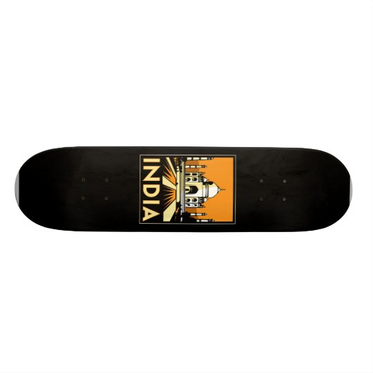 taj mahal india art deco retro poster skateboard