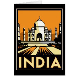 taj mahal india art deco retro travel vintage card