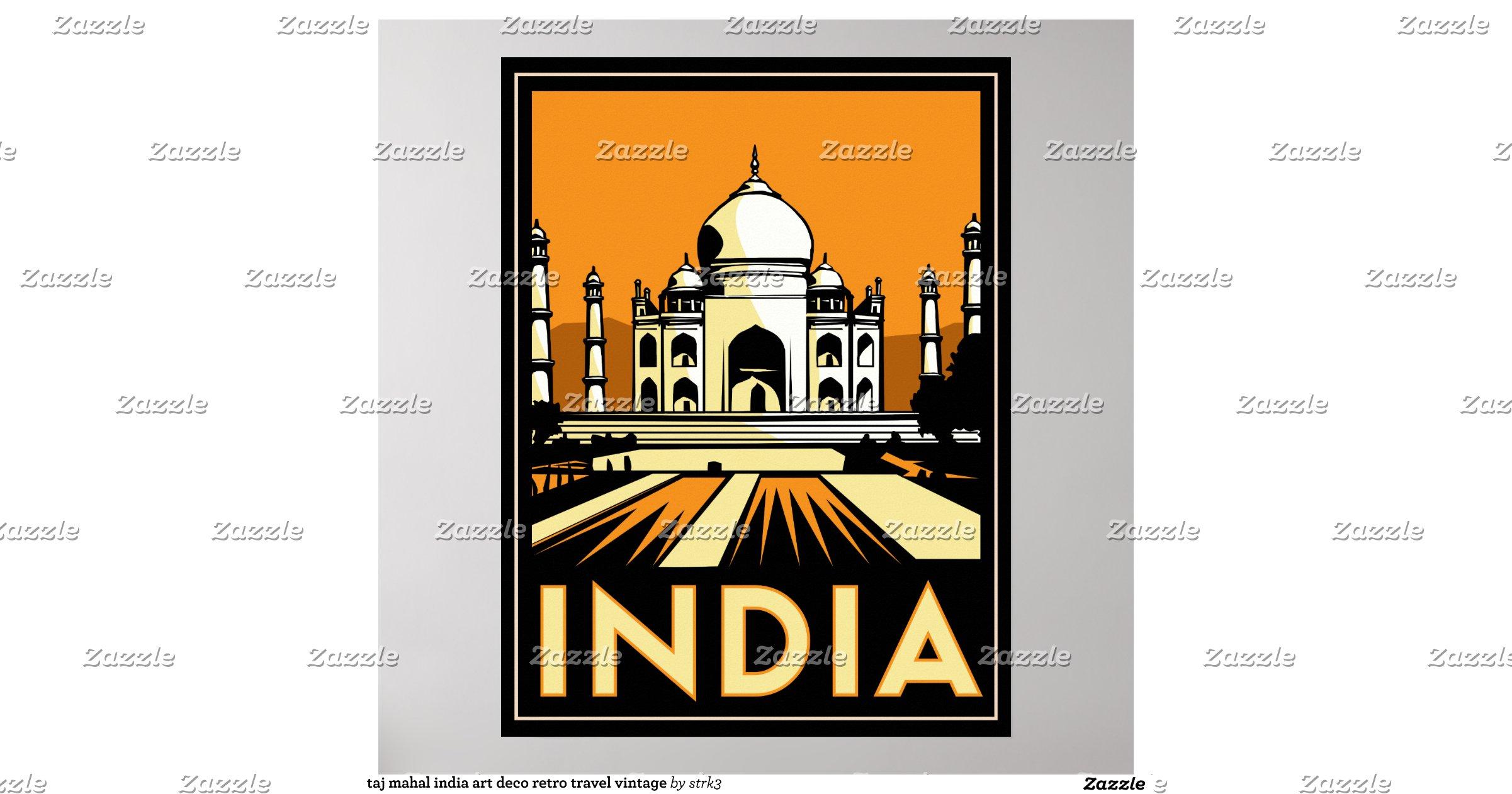 Taj mahal india art deco retro travel vintage poster for Classic art deco