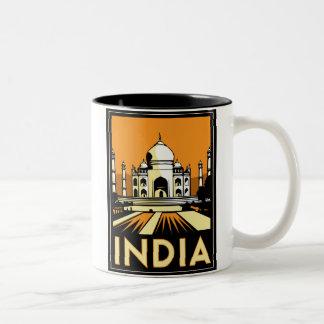 taj mahal india art deco retro travel vintage Two-Tone coffee mug