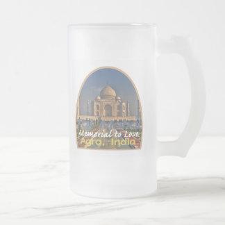 TAJ MAHAL India Frosted Glass Beer Mug
