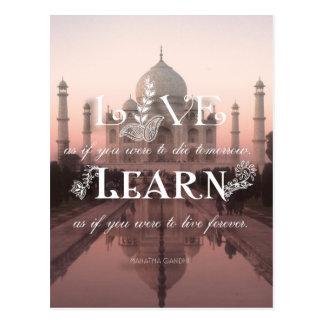 Taj Mahal India Live Learn Gandhi - Postcard