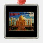 Taj Mahal India Vintage Square Metal Christmas Ornament