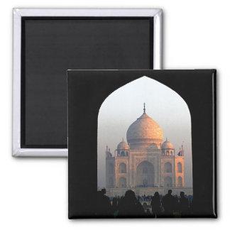 Taj Mahal Light of Dawn India Architecture Photo 2 Inch Square Magnet