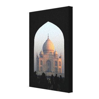 Taj Mahal Light of Dawn India Architecture Photo Stretched Canvas Print