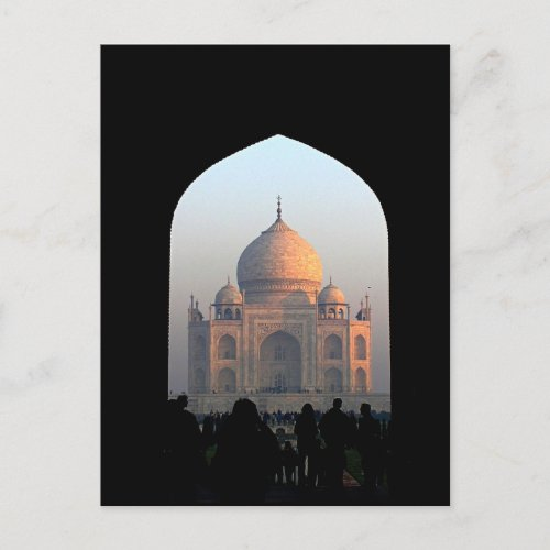 Taj Mahal Light of Dawn India Architecture Photo Postcard
