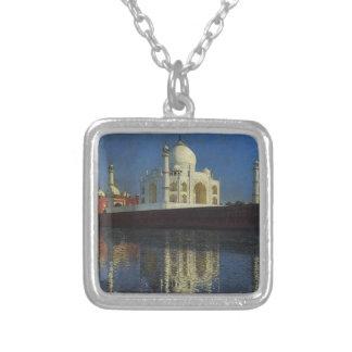 Taj Mahal Mausoleum by Vasily Vereshchagin Square Pendant Necklace