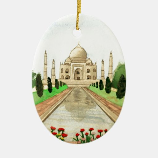 Taj Mahal Double-Sided Oval Ceramic Christmas Ornament