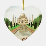Taj Mahal Double-Sided Heart Ceramic Christmas Ornament