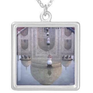 Taj Mahal reflection, Agra, Uttar Pradesh, Square Pendant Necklace