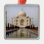 Taj Mahal Square Metal Christmas Ornament