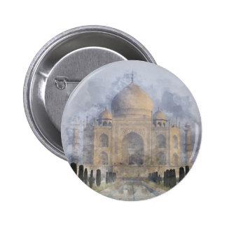 Taj Mahal Watercolor Pinback Button