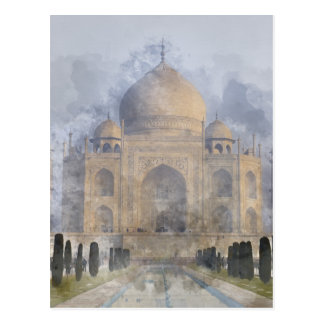 Taj Mahal Watercolor Postcard