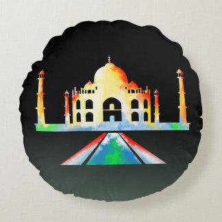 Taj Mahal Watercolor Round Pillow