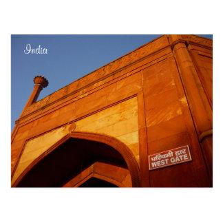 taj mahal west gate postcard