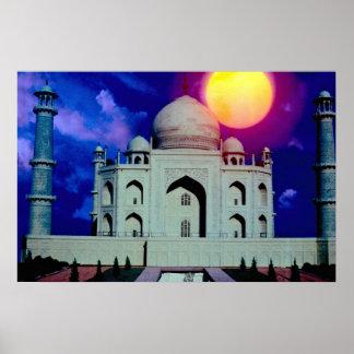 Taj Mahal with sun Poster