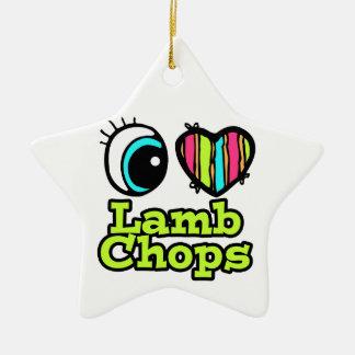 Tajadas de cordero brillantes del amor del corazón adorno navideño de cerámica en forma de estrella