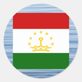 Tajik Flag Floating on water Classic Round Sticker