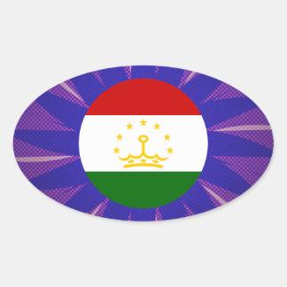 Tajik Flag Souvenir Oval Sticker