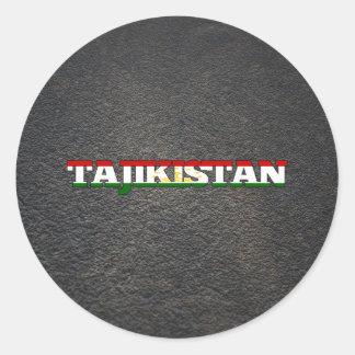 Tajik name and flag classic round sticker